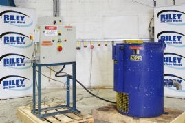 W.M.V. Heavy duty centrifugal heated parts dryer with free standing jib and electric hoist