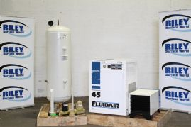 Fluidair Air compressor, Compact Dryer and accumulator cylinder