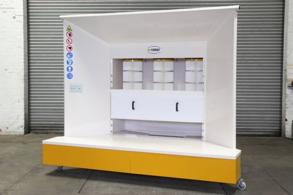 KPO-3_0 Open Face Powder Coating Booth with Hopper